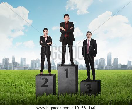 Business Person Standing On The Podium