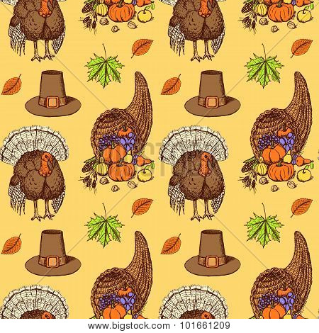Sketch Thanksgiving Seamless Pattern