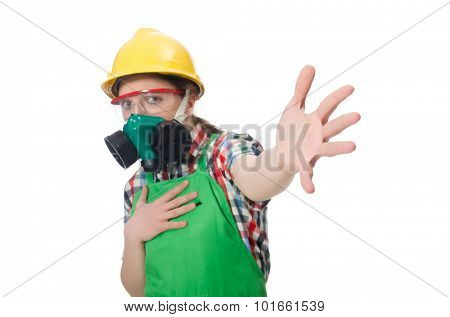 Female worker wearing coverall and gas mask isolated on white