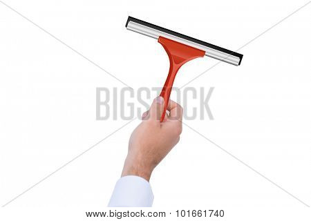 A Hand using a wiper against white background