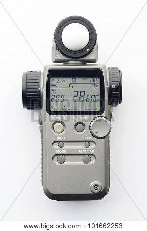 Flash Meter with Zoom Spot on White Background