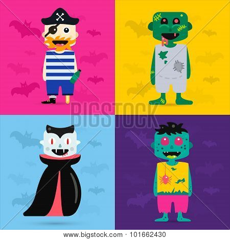 Set of vector halloween costume characters