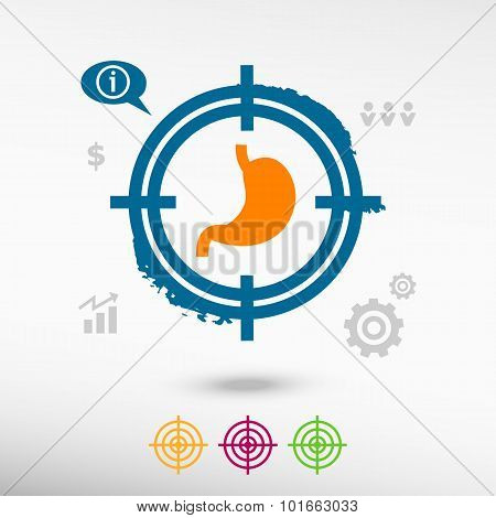 Stomach Icon On Target Icons Background
