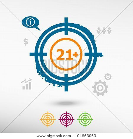 21 Plus Years Old Sign. Adults Content Icon On Target Icons Background