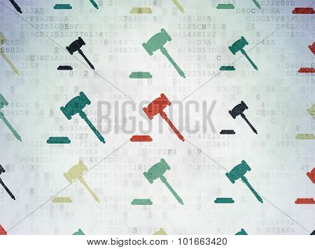 Law concept: Gavel icons on Digital Paper background