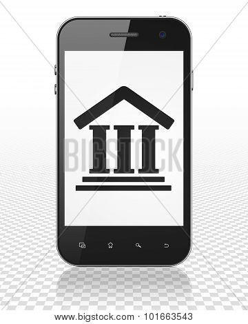 Law concept: Smartphone with Courthouse on display