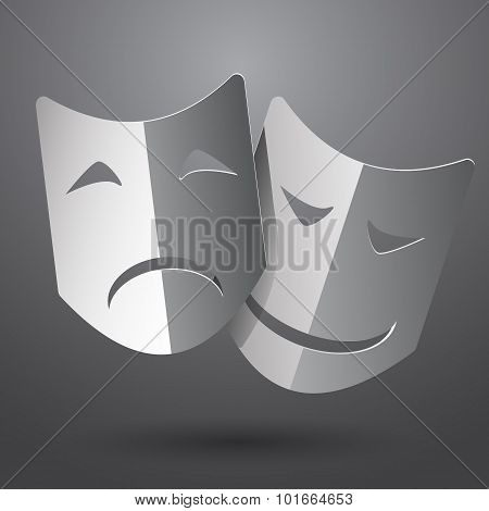 Theater Icon With Happy And Sad Masks Vector Eps10