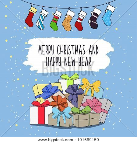 Cute Cartoon Illustration On The Theme Of Merry Christmas And Happy New Year With Gifts And Surprise