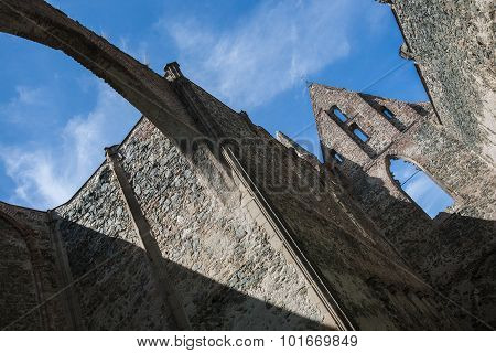 Mysterious Old Roofless Monastery. Dolni Kounice, Rosa Coeli, Czech Republic