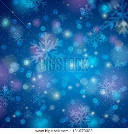 Blue Background With Snowflake And Bokeh, Vector