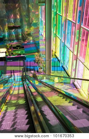 MONTREAL, CANADA - AUGUST 20th 2014: The colourful stained glass Palais des congres de Montreal, a public convention and exhibition centre located in Downtown Montreal, Canada