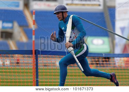 ST. PETERSBURG, RUSSIA - SEPTEMBER 9, 2015: Team Uzbekistan compete in combat deployment during the XI World Championship in Fire and Rescue Sport. First World Championship was held in 2002