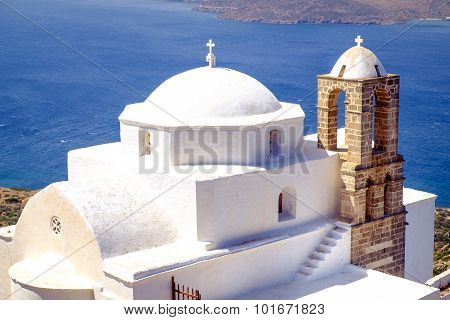Detail View Of Traditional Greek Cycladic Church In Plaka Village
