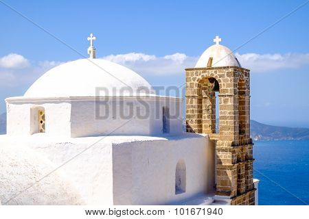 Detail Of Traditional Greek Cycladic Church In Plaka Village