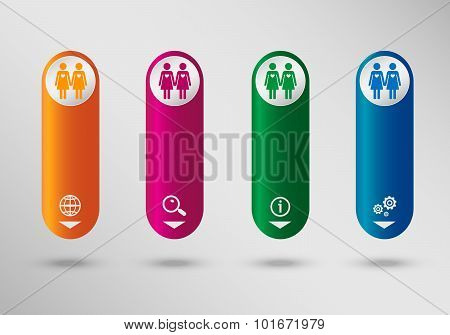 Lesbian Icon On Vertical Infographic Design Template, Can Be Used For Workflow Layout, Web Design.