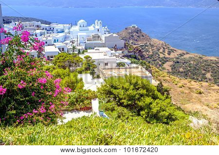 Landscape View Of Traditional Cycladic Village Plaka, Milos Island