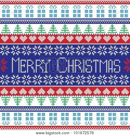 Red , blue, green and white Merry Christmas pattern with decorative elements trees , flowers, Christ