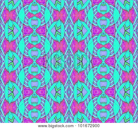 Seamless ornaments turquoise violet