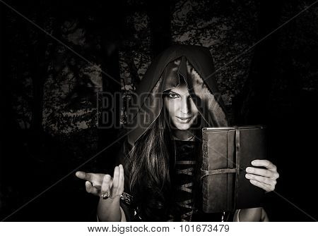 Beautiful Young Halloween Witch Old Magical Book