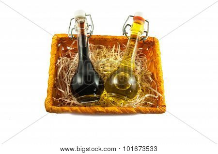 Two Bottles Of Wine Vinegar And Olive Oil In A Gift Box