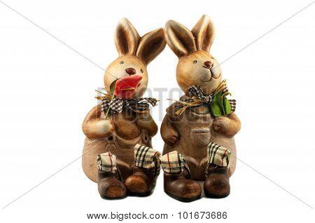 Two Enamored Rabbit - Ceramic Toy Souvenirs