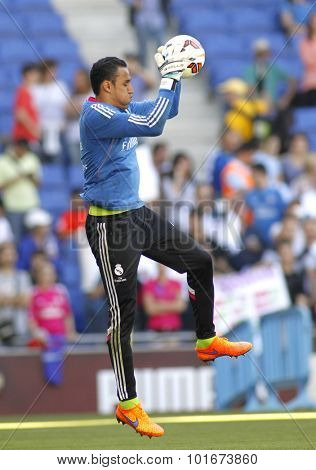 BARCELONA - MAY, 17: Keylor Navas of Real Madrid before Spanish League match against RCD Espanyol at the Power8 stadium on Maig 17 2015 in Barcelona Spain