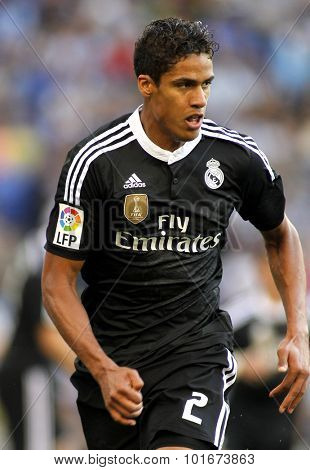 BARCELONA - MAY, 17: Raphael Varane of Real Madrid during a Spanish League match against RCD Espanyol at the Power8 stadium on Maig 17 2015 in Barcelona Spain