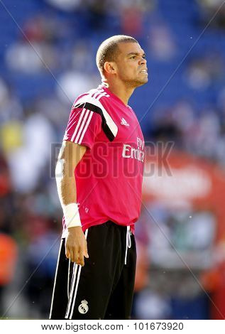BARCELONA - MAY, 17: Pepe Lima of Real Madrid before a Spanish League match against RCD Espanyol at the Power8 stadium on Maig 17 2015 in Barcelona Spain