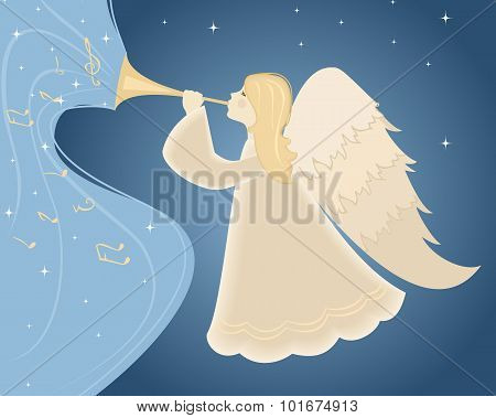 Christmas angel with pipe. Vector