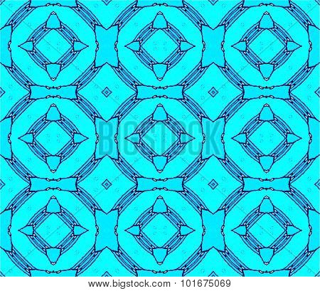 Seamless circles pattern turquoise blue