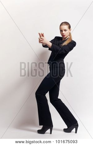 One Caucasian Sexy Detective Woman Holding Aiming Gun
