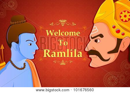 Rama killing Ravana in Happy Dussehra