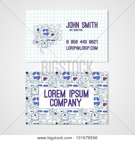 Business card template whit funny doodle monstes. Corporate identity.