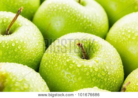 Close up of fresh organic Granny Smith apples.