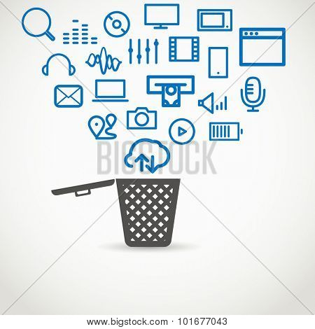 Different icons flowing into a garbage basket