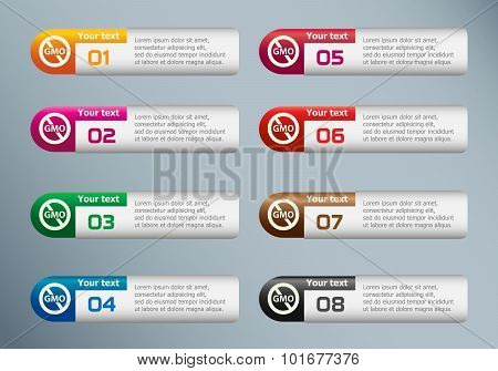 Without Genetically Modified Food Symbol And Marketing Icons On Infographic Design Template.