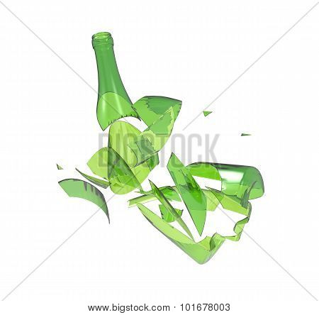 Shattered green  bottle