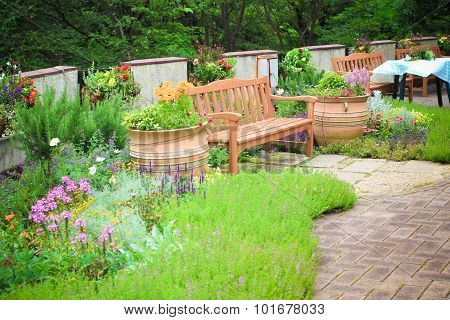 Wooden chair in the garden