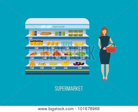 Shop, supermarket interior shelf with fruits, vegetables, milk, honey, drinks, preserves. Healthy ea