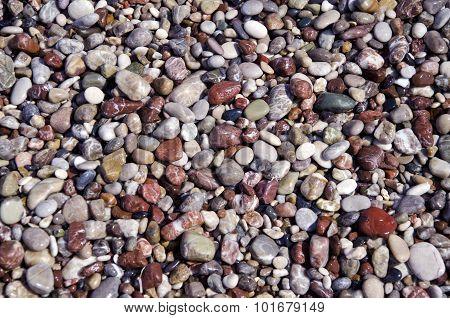 Mediterranean Sea Wet Pebbles Beautiful Nature Background