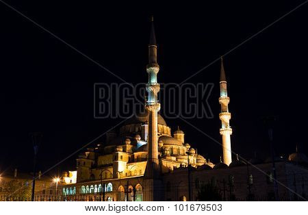 Yeni Cami, Meaning New Mosque In Night, Istambul