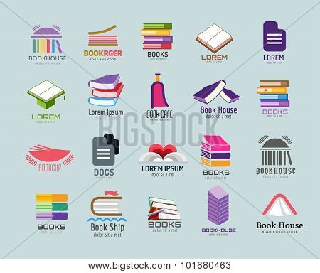 Book vector logo template set