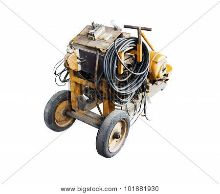 Machine In The Factory At Metalworks On White Isolate Background With Clipping Path.