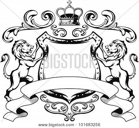 Heraldic Lion Shield Crest Silhouette