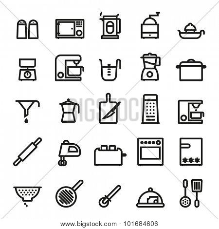 Kitchen and Cooking Black Line Icons Collection. Cooking Utensils and Kitchen Appliances  bold black line icons vector set