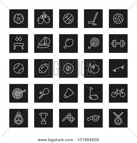 Sports Square Black Sports Line Square Black Icons Collection Icons Collection. Set of 25 sports related line icons in black squares with rounded corners