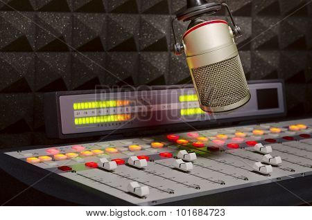 microphone and audio console radio studio