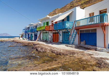 Traditional boathouses in Klima fishing village, Milos island, Greece