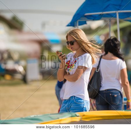 UKRAINE, KHARKIV -AUGUST 24: girl in vyshivanka at aerodrome on Ukraine Independence Day at Kharkiv  on August 24, 2015