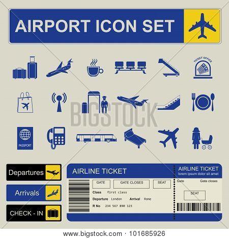 Airport, air travel icon set